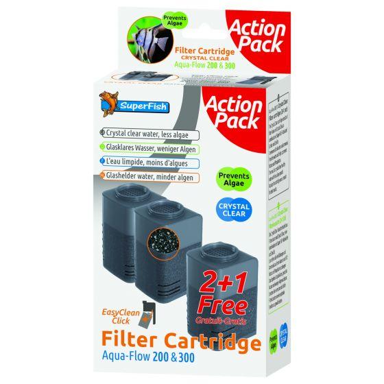 Superfish Aquaflow 200/300 Filter Crystal Clear Cartridge - Filtermateriaal - 2+1 stuks